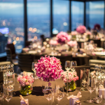 Wedding table decorations @ Eureka Tower