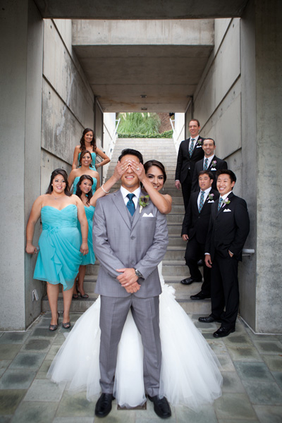 Stephanie and Kenneth let their bridal party join in on the first look.  Photo Credit: Taylored Photo Memories