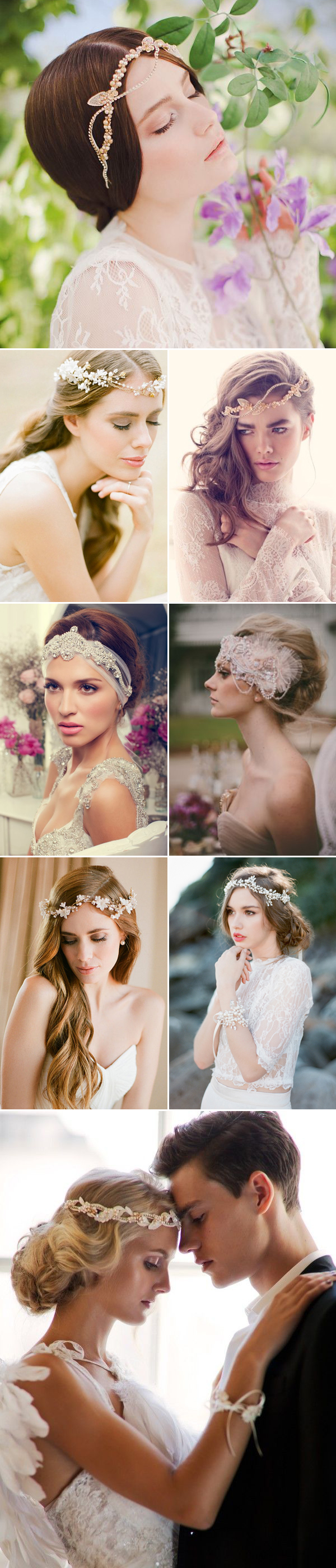 Headband Designers (from the top, left to right): Jannie Baltzer / Percy handmade / Jannie Baltzer / Anna Campbell / Viktoria Novak / Percy handmade / Bride La Boheme / Jannie Baltzer