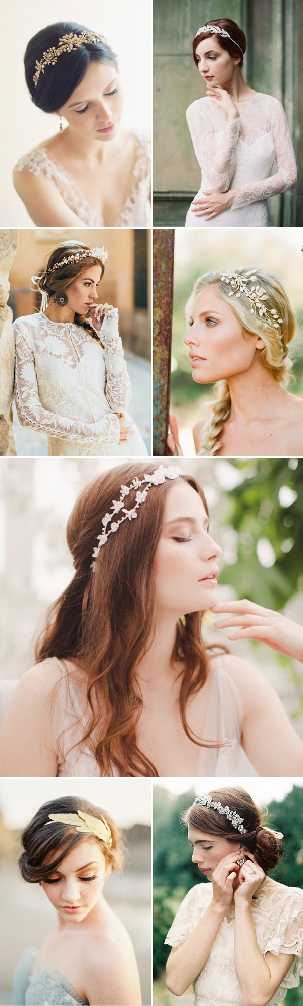 Headband Designers (from the top, left to right): Erica Elizabeth / Enchanted Atelier by Liv Hart  / Gibson Bespoke / Erica Elizabeth Designs (photo by Carmen Santorelli) / Jannie Baltzer / When He Found Her / Enchanted Atelier by Liv Hart