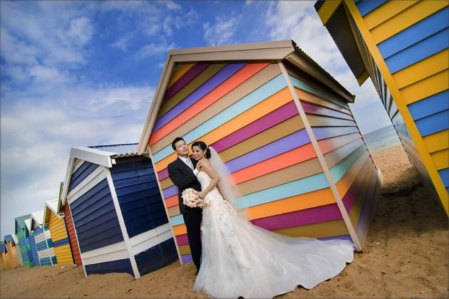 Brighton beach shed wedding